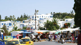 Street market and people in Sidi Bou Said Stock Photo