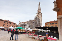 street market on piazza Grande in Modena, Italy Stock Image