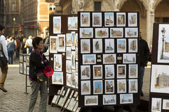 Street market with pictures of Belgium Stock Photography