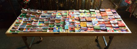 Flags all over the world. Street market stall with many flags of countries all over the world Stock Images