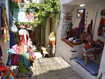Street market in Symi. Colorful craft products, Town of Symi, Greece royalty free stock photography