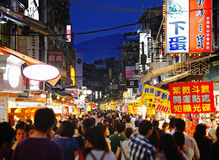 Street market of Taiwan. The most famous Shihlin street market in Taiwan Royalty Free Stock Images