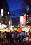 Street market of Taiwan. The most famous Shihlin street market in Taiwan Stock Images