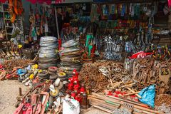 Street market with tools Stock Photo