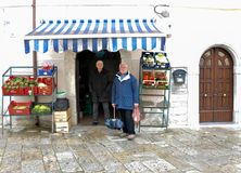 Street market at the village of Agnone. View of characteristic street market at Agnone medieval village. Molise region, central south Italy stock photo
