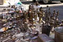 Street market. Where is sold antique and old staff stock photos