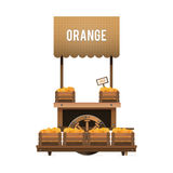 A street market. Wood cart for sale oranges. Selling fruit in bo Stock Image