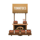 A street market. Wood cart for sale tomatoes. Selling vegetables Stock Images