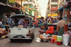 Street Market in Yangon Stock Image