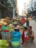 Street Market in Yangon Stock Images