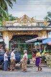 Street market in yangon myanmar outside temple Stock Photos