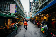 Street market in the Zhongzheng District, Taipei, Taiwan. Royalty Free Stock Images