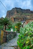 Street of Masca village with old houses, Tenerife, Canarian Isla Stock Images
