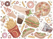 Street meal, french fries, pizza, hamburger, takeaway service, coffee, hot dog, burrito, ice cream, quick lunch set. Fast food, unhealthy nutrition concept vector illustration