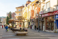 Street meant only for pedestrians in the center of Bulgarian Bourgas royalty free stock photo
