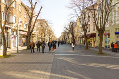Street meant only for pedestrians in the center of Bulgarian Bourgas, winter stock photography