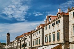 Street and medieval buildings of the city Stock Photo