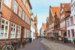 Street with Medieval old brick buildings. Luneburg. Germany royalty free stock photo