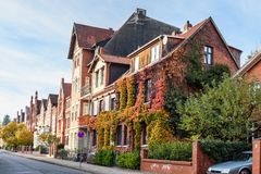 Street with Medieval old brick buildings. Luneburg. Germany stock image