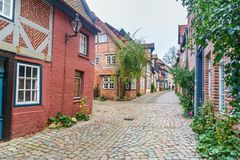 Street with Medieval old brick buildings. Luneburg. Germany stock photography