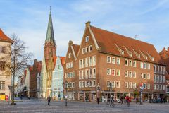 Street with Medieval old brick buildings. Luneburg. Germany royalty free stock image