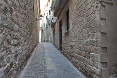 Street in the medieval quarter of Girona, Spain Stock Image