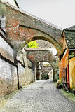 Street in the medieval style in Sibiu, Romania Stock Photos