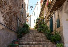 Street in medieval town of Abruzzo, Italy Stock Photo