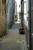 Street in medieval town. Quiet back street in the town of sarlat in the dordogne reagion of france Royalty Free Stock Photo