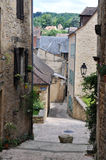 Street in medieval town. Quiet back street in the town of sarlat in the dordogne reagion of france Stock Image
