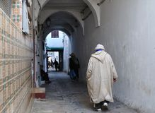 Street of the medina. People walking in a street of the Medina - old town - city of Tetouan - Morocco Royalty Free Stock Photography