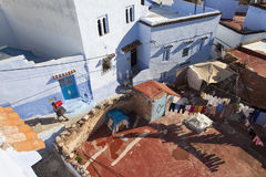Street in medina of blue town Chefchaouen, Morocco Stock Images