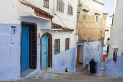 Street in medina of blue town Chefchaouen, Morocco.  royalty free stock images