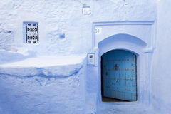 Street in medina of blue town Chefchaouen, Morocco Royalty Free Stock Image