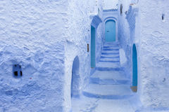 Street in medina of blue town Chefchaouen, Morocco Royalty Free Stock Images