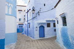 Street in medina of blue town Chefchaouen, Morocco.  royalty free stock image