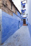 Street in medina of blue town Chefchaouen, Morocco Stock Photos