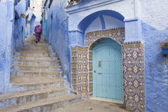 Street in medina of blue town Chefchaouen, Morocco.  Royalty Free Stock Photography