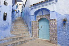 Street in medina of blue town Chefchaouen, Morocco.  Stock Images