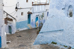 Street in medina of blue town Chefchaouen, Morocco.  stock image