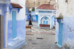 Street in medina of blue town Chefchaouen, Morocco.  stock photography