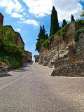 Street of a medioeval village. Suggestive street of a medioeval village royalty free stock images