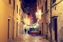 Street of Mediterranean Town Rovinj in Istria, Croatia at Night stock photos
