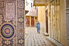 Street of Meknes with decorating tiles Stock Photo