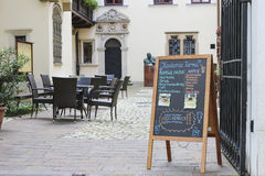 Street menu board of famous Roma Cafe, Krakow, Poland Stock Image