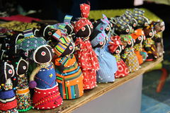Street merchandise in Cape Town at a stall with traditional gifts and curios Stock Photo