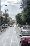 A street in Messina Italy. Messina is a harbor city in northeast Sicily, separated from mainland Italy by the Strait of Messina. It's known for the Norman Stock Photo