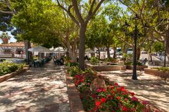 Street of Mijas. Picturesque street of Mijas, charming white village in Andalusia. Costa del Sol,  Spain. Picture taken 20 june 2019 stock photo
