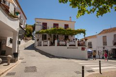 Street of Mijas. Picturesque street of Mijas, charming white village in Andalusia. Costa del Sol,  Spain. Picture taken 20 june 2019 stock photography