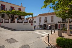 Street of Mijas. Picturesque street of Mijas, charming white village in Andalusia. Costa del Sol,  Spain. Picture taken 20 june 2019 royalty free stock photography